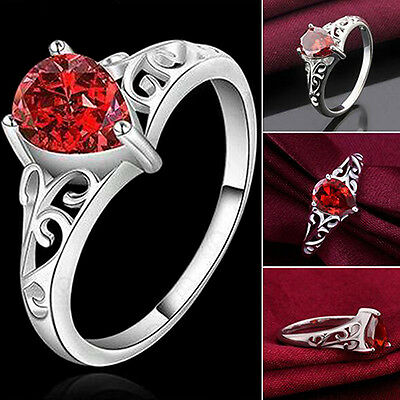 Utmost Graceful Faux Ruby Ring 925 Sterling Silver Charm Waterdrop Love Gift