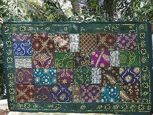 Tenture-indienne-Tapis-mural-Vert-Dessus-de-table-Patchwork-Tapisserie-Boho-Inde