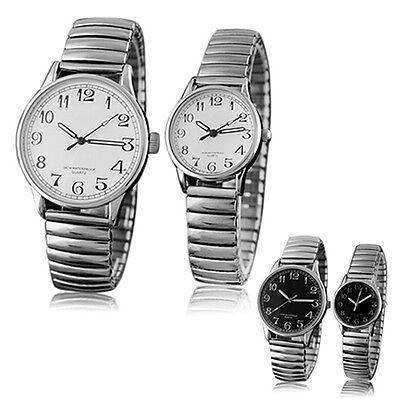 Mens Women New Classic Couple Design Alloy Quartz Analog Stretchable Wrist Watch