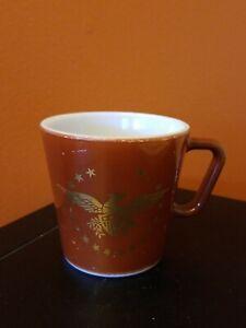 Vintage Pyrex Brown Gold Federal Eagle Coffee Mug Cup