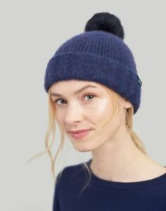 Joules-Womens-Toasty-Heavyweight-Beanie-With-Pop-a-pom-ONE-in-NAVY-in-One-Size