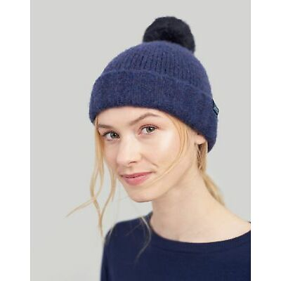 Joules Womens Toasty Heavyweight Beanie With Pop a pom ONE in NAVY in One Size
