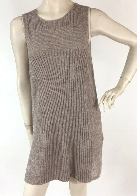 Eileen Fisher Womens Size L Taupe Metallic Linen Blend Tunic SweaterTop NEW