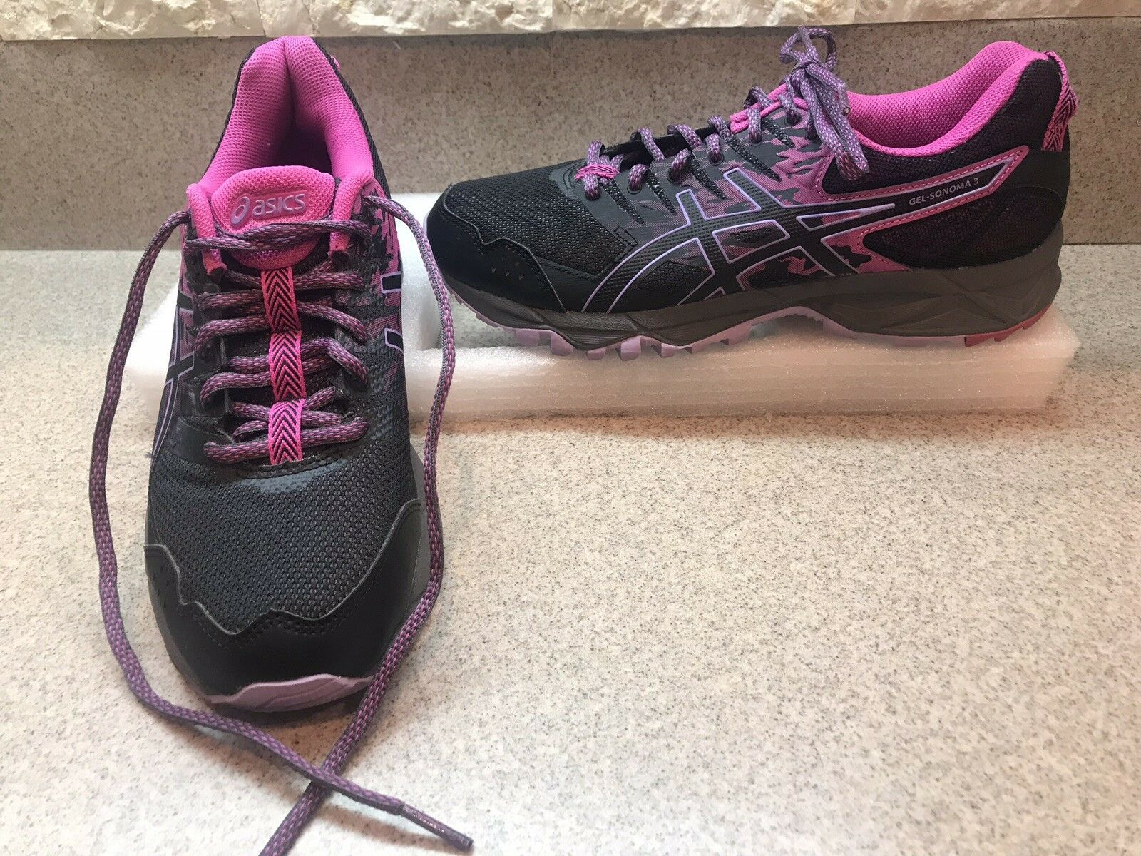 Womens Pink Black Lavender Asics GEL-Sonoma 3 Trail Running shoes Women's Sz 8