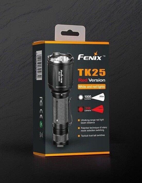 Fenix TK25 ROT Jagd Taschenlampe 1000lm weiss und 310lm 310lm und rot 200m Reichweite IP68 67f3c0