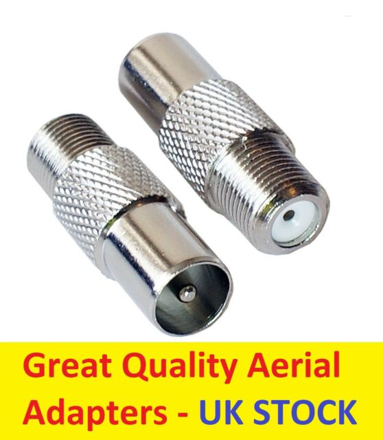2x MALE Coax to F Type FEMALE Socket TV Aerial Sky Connector Adapter TWIN PACK