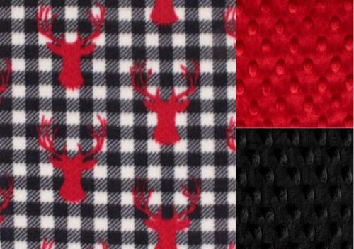 Personalized PlaidDeer Minky Baby Blanket //Stroller Blanket//Lovey//Taggie Blanket