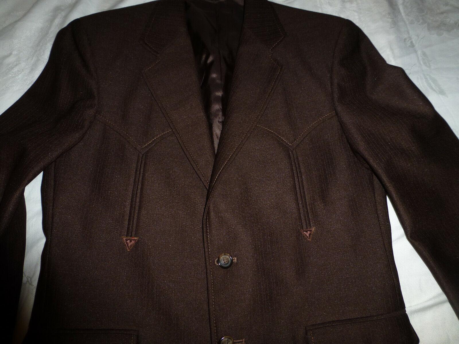 Vintage CIRCLE S Men's Ranch Western Suit Chocola… - image 3
