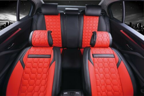 Red /& Black PU Leather Full Set Seat Covers Padded For Kia Hyundai