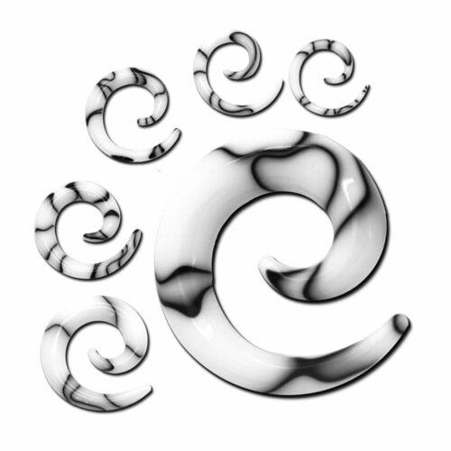 Dehnspirale jaspeado blanco dehnschnecke dehnstab set piercing Plug túnel acrílico