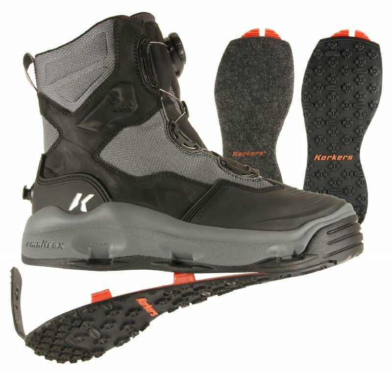 Korkers Darkhorse Wading boots w Felt and Kling-On rubber soles - Size 7