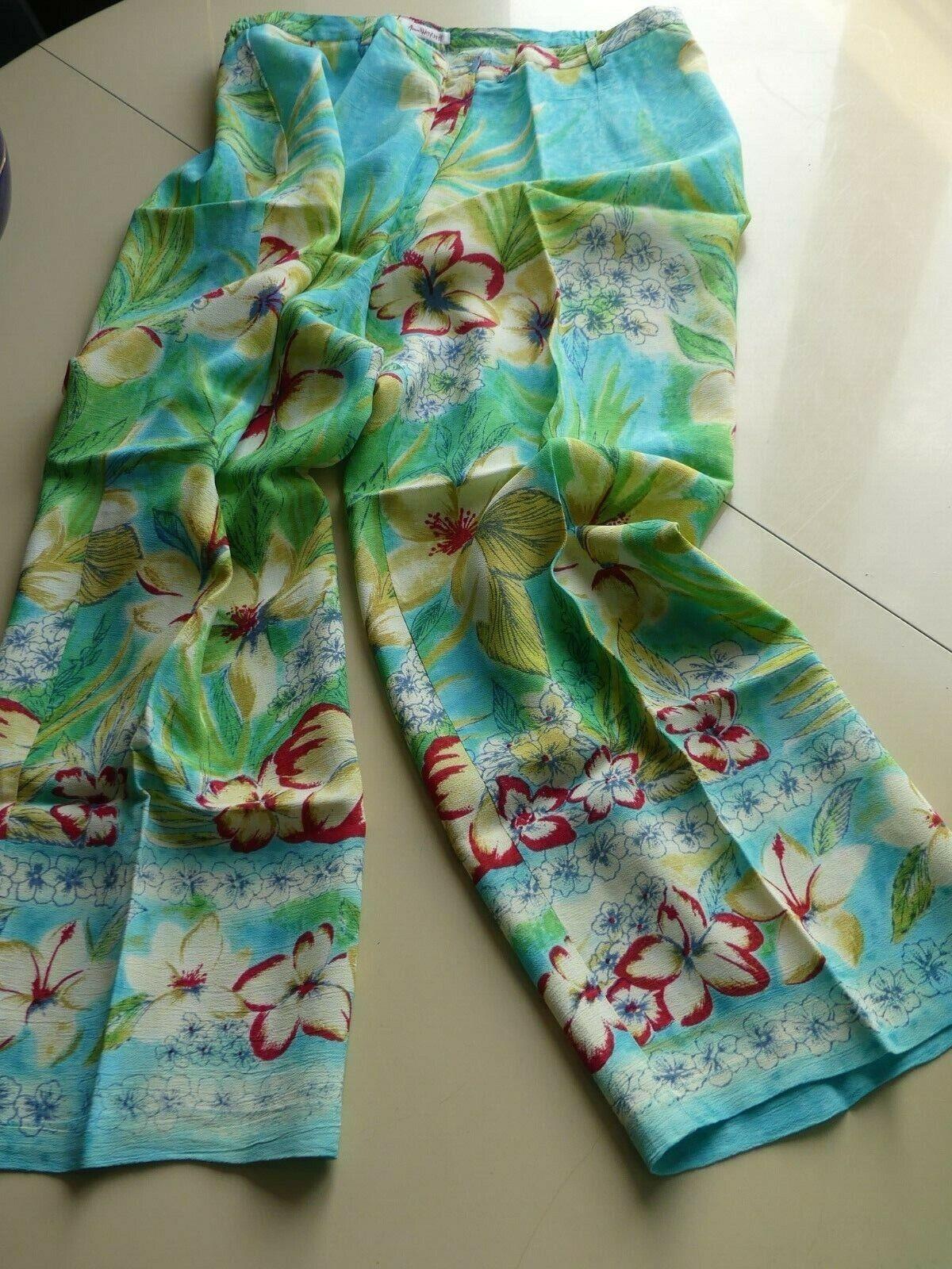 Pantalon d'Été Femme_ Magnifique Crêpe de Viscose à Imprimé Stylisé T. 44   NEUF