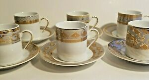 Formalities-10K-Gold-Set-of-6-Demitasse-Cups-and-Saucers-by-Baum-Brothers-Import