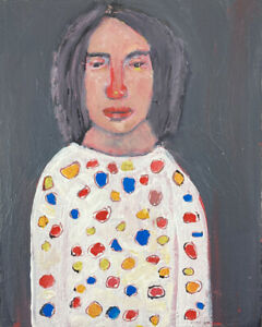 Outsider Art Original Portrait Painting Katie Jeanne Wood