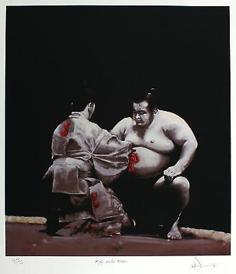 64cm x 59cm taille Charles Willmott chamarré awards ken-sho sumo wrestling signé