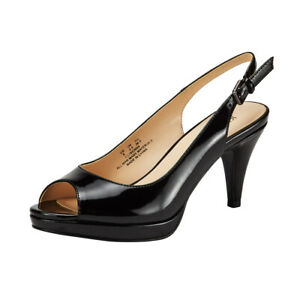 JENN-ARDOR-Women-Kitten-Heels-Pumps-Peep-Toe-BLACK-Sandals-Slingback-Party-Shoes