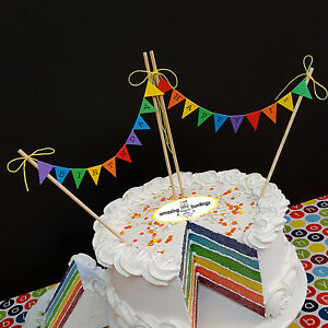 Image Is Loading Happy Birthday Rainbow Premium Cake Topper Bunting Decoration