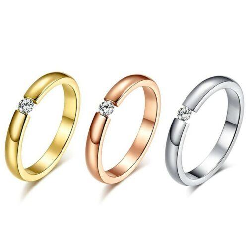 SOL0002 Solitaire Alliance Bague Acier Argenté Rose Doré Fiançailles Mariage Au