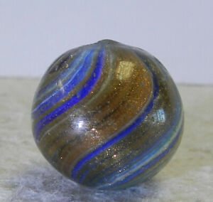 #12845m Large .78 Inches Vintage German Handmade Onionskin Lutz Marble