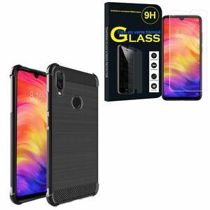 Coque-Silicone-Fibre-de-Carbone-Xiaomi-Redmi-Note-7-Pro-6-3-034-avec-Verre-Trempe