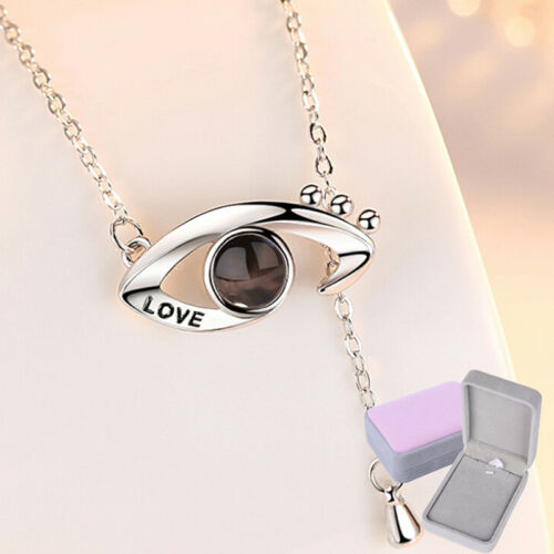 I LOVE YOU 100 Languages 925 Silver Projection Pendant Necklace Memory of LOV wy