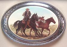 Belt Buckle Barlow Scrimshaw Carved Painted Art Mustangs Cowboy Horses 592412c