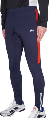 More Mile Thermal Mens Long Running Tights Navy//Red