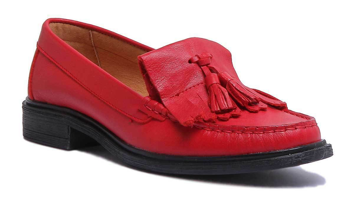 Justin Reece Samantha Womens Red Leather Matt shoes