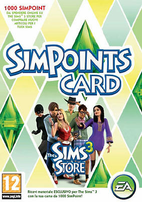 Accessorio 1000 SimPoints Card - The Sims 3 PC