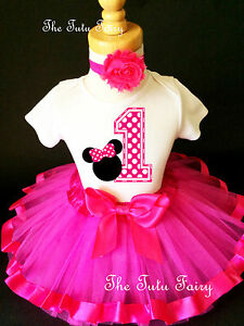 483003b64 Hot Pink Polka dots Minnie Mouse Girl 1st First Birthday Tutu Outfit ...