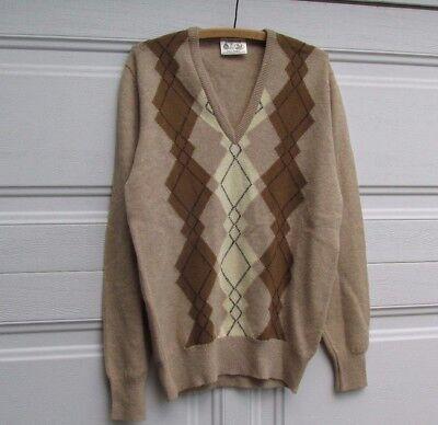 Vtg Edinburgh Woollen Mill Shetland Wool Argyle Sweater Scotland made Men 38