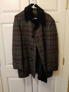 VTG Pendleton Gray Plaid Black Faux Fur Collar Plaid Wool Coat No Size Tag XL