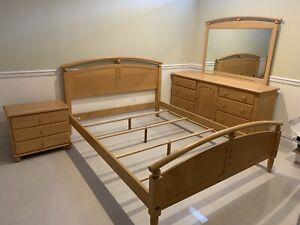 Ethan Allen Bedroom Set Queen Bed Frame Double Dresser Night Stand Mirror Ebay