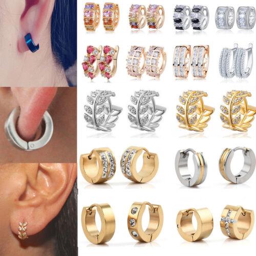 Elegant 18k White //Yellow Gold CZ Sapphire Ear Stud Earrings Hoop Women Jewelry