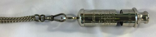 Acme England 1930-1950 Nickel Plated Brass Metropolitan Police Whistle w//Chain