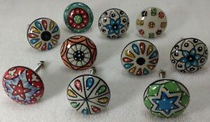 Multcolor flat Ceramic Door Knobs Handpainted Knobs Kitchen Cabinet Knobs