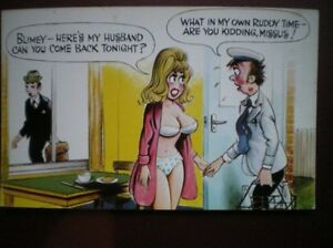 POSTCARD-COMIC-HERE-039-S-MY-HUSBAND-CAN-YOU-COME-BACK-TONITE-NOT-IN-MY-OWN-TIME