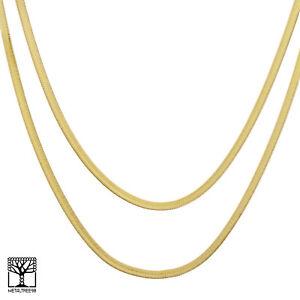 Men S Bling 14k Gold Plated 5 Mm 20 24 Double Herringbone Chain Necklace Ebay