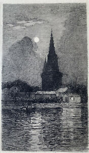 Jeanne simmonet engraving water forte etching tower of the lantern a la rochelle