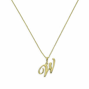 6f7dc8d0c382b Details about 9ct Gold Fancy Calligraphy Script Letter W Necklace 16 - 20  Inches