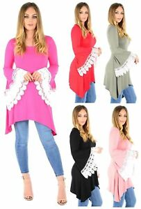 New Ladies Lace Crochet Long Flared Sleeve Swing Dress 8-22