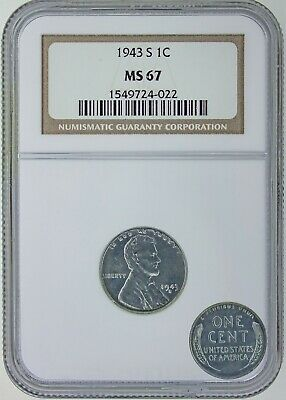 1943-S Lincoln Cent MS67 PCGS Steel Mint State 67