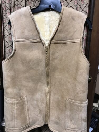French Authentic Shearling Vest Vintage Camel Colo