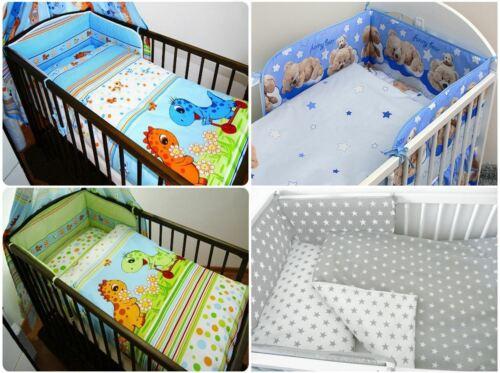 Dino Designs 3 Piece Baby Toddler Cot Bedding Set Regular Cot Bumper Bear