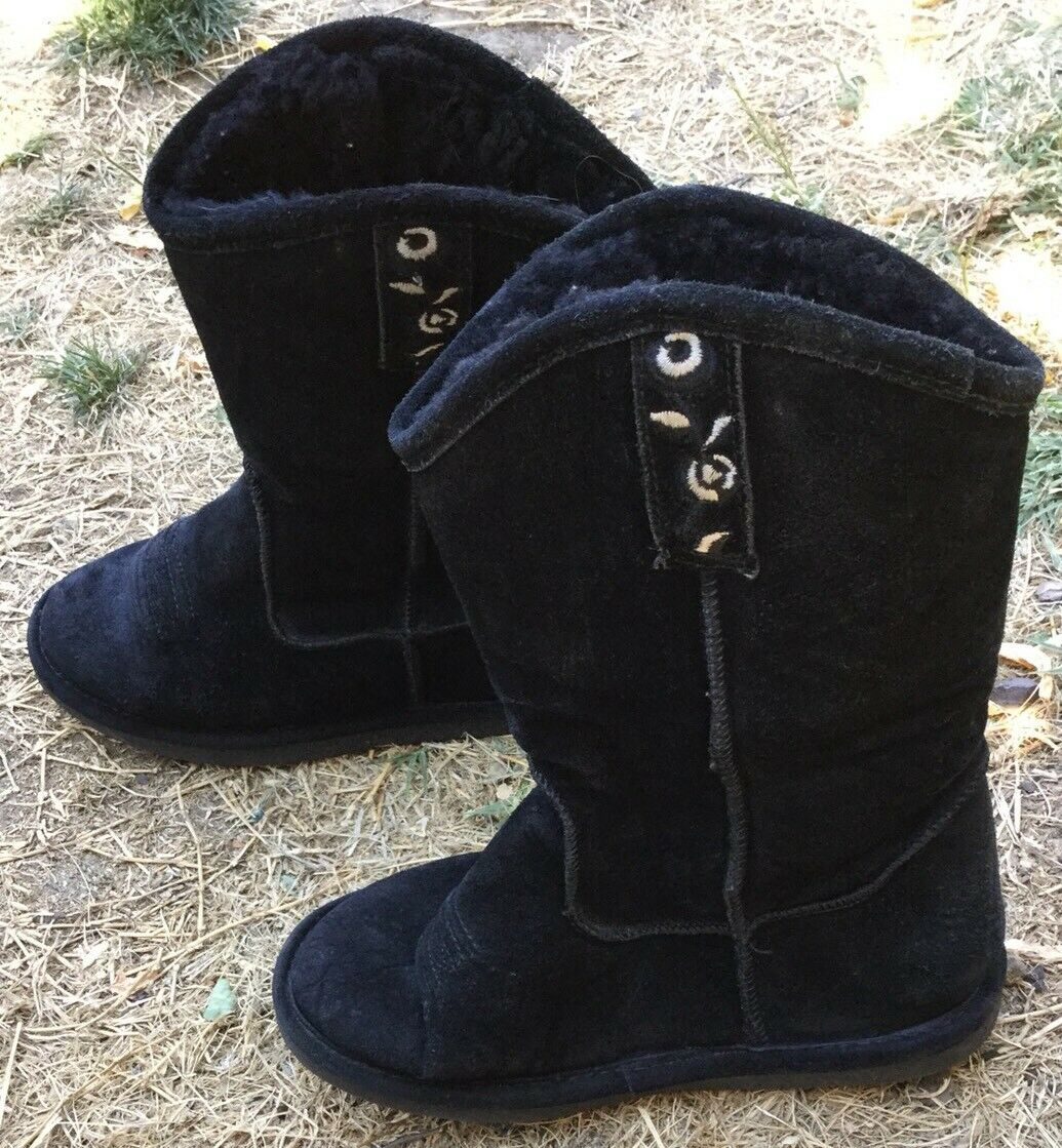 Bear Paw Boots Black Cowboy Size 6 Shoes Women's Winter Slipper Flower Embroider