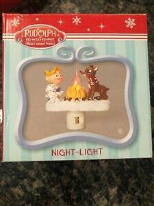 NEW! Rudolph The Red Nosed Reindeer Night Light Nightlight w/Flame - Hermey Elf