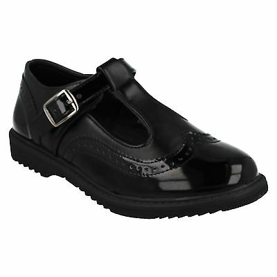 GIRLS COOL 4 SCHOOL T BAR BUCKLE STRAP BLACK SMART SCHOOL SHOES H2R435