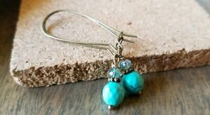 Faceted-Stone-Earrings-Turquoise-Howlite-Czech-Glass-Dangle-Earrings-Bronze