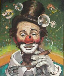 Signed Rufino CEBAL Ceballos Vintage Clown Painting Emmett Kelly - E.K - Paris