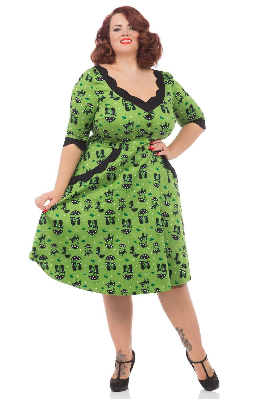 Voodoo Vixen Cat Green Katnis Dress 50s PinUp Rockabilly ...